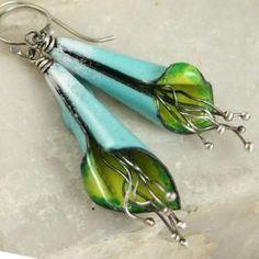 Flower Shaped Copper Enamel Earrings Outdoor Scene Sky and Grass | TekaandZoe - Jewelry on ArtFire