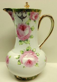 Hand Painted Chocolate Coffee Pot with Pink Roses and Gold trims