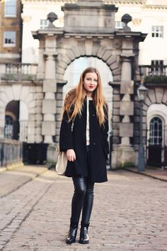 A classic trench + red lips.