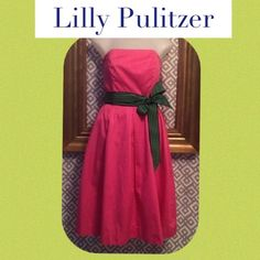 Lilly Pulitzer dress; 0 Pink lilly dress with navy/green bow. Bow can be tied in the front, back, or side Lilly Pulitzer Dresses