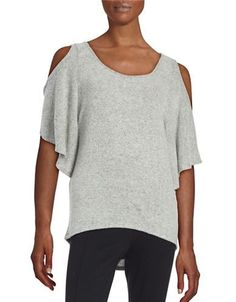 Design Lab Lord & Taylor Knit Cold-Shoulder Top Women's Grey X-Small