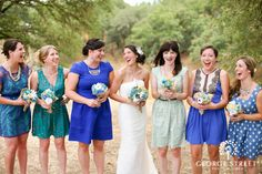 We adore this mismatched bridal party look!
