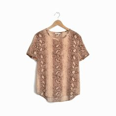 EQUIPMENT Riley Silk Python Print Tee in Brown & Tan - S #EQUIPMENT #Blouse #Casual