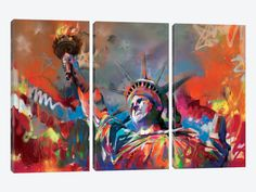 Statue of Liberty by Scott Naismith 3-piece Canvas Art Print