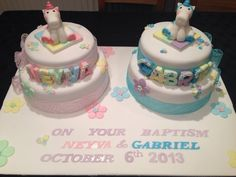 Joint Baptism cake girl boy two tier unicorn My Favorite Food, Favorite Recipes, My Favorite Things, House Cake, Home Bakery, Cakes For Boys, Girl Cakes, Christening Cakes, Boy Or Girl