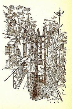 Paris by Ronald Searle Anton, St Trinians, Ronald Searle, Scenic Design, Art Sketchbook, Comic Strips, All Art, Printmaking, Illustrators