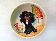 King Charles Cavalier Ceramic Dog Bowl signed by Debby Carman Faux Paw Productions by FauxPawProductions on Etsy