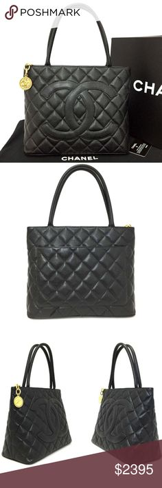 a7cbce8da3c6 100% Auth CHANEL Classic Gold Medallion CC ToteBag Serial Number / Date  Code : 5824394
