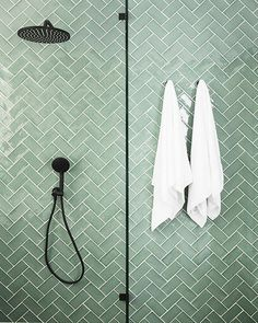 that's the name of this gorgeous subway tile from and geez she looks extra spesh with the 'jasmine' grout and matt black tapware from 😻 P.S - Styling tip - you can't go wrong with fresh, white towels We got these from New Bathroom Designs, Walk In Shower Designs, Green Subway Tile, Glass Subway Tile, Glass Tile Bathroom, Small Bathroom, Tile Bathrooms, Bathroom Green, Dyi Bathroom