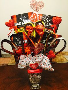 Beef Jerky bouquet for husband, Valentine's Day- such a good idea for my guy who doesn't like sweets