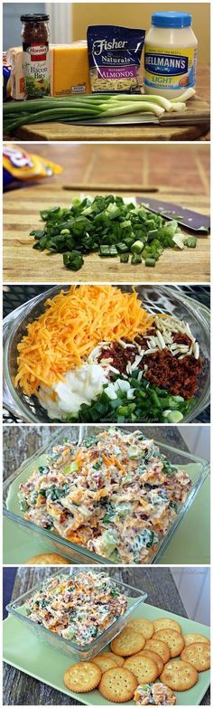 Neiman Marcus Dip: Green onions, cheddar cheese(shredded), 1 c mayo, 1 jar Hormel real bacon bits, 1 pkg slivered almonds Think Food, I Love Food, Food For Thought, Good Food, Yummy Food, Tasty, Delicious Recipes, Yummy Appetizers, Appetizers For Party