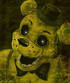 This is my favorite fnaf character ! I fangirl so hard over him . Freddy S, Fnaf Golden Freddy, Creepy, Scary, The Marionette, Fnaf Characters, Fnaf Drawings, Freddy Fazbear, Sister Location