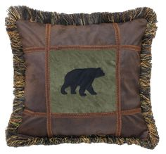 """Perfect for your couch or bed at camp or your log cabin or lodge style home! 18""""x18"""" Applique black bear on Pine suede, Chocolate frame, brush fringe, decorative gimp over seams. Available on CampFitters.com"""
