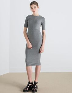 Pull&Bear - mulher - vestidos - vestido midi canalé ajustado - grisalho - 05390329-V2016