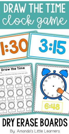 "Let your students practice what different times look like on the clock by letting them play this fun game. Laminate clock and time cards. Randomly choose one ""time card"" and place it in the space on the clock board. Use a dry erase marker, playdough, pipe cleaners, etc to create the hour and minute hands to represent the time on the card. Keep students accountable for their time at this center with a corresponding worksheet!"