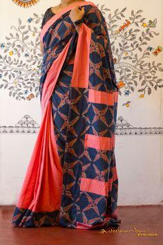New Look Pink & Blue Color soft silk Designer Saree Cocoon, Cotton Sarees Online, Kalamkari Saree, Wedding Silk Saree, Simple Sarees, Blouse Designs Silk, Blue Saree, Saree Models, Elegant Saree