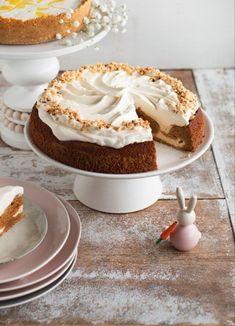 Porkkanakakku-juustokakku   Maku Cereal, Muffin, Gluten Free, Pudding, Baking, Breakfast, Sweet, Desserts, Recipes
