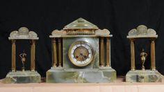Antique French Empire Onyx Ormolu Clock Garniture Set