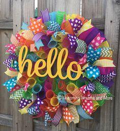 Summer Wreath Hello Wreath Colorful Wreath Hello Deco Mesh