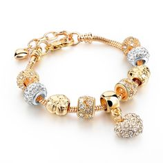 Austrian Crystal Love Heart Gold Charm Bracelet Now on sale -> 40% OFF! Only 28.90