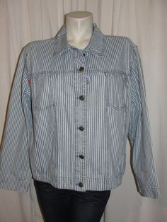 CHICOS Jean Jacket Blue White Railroad Stripe 100% Cotton L Sleeve Sz XL (3) #CHICOS #JeanJacket #Casual
