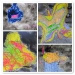Crayon and watercolour