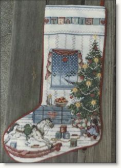 Northwoods Christmas stocking Pattern appeared in the Premier Issue of Cross Stitch & Country Crafts magazine.