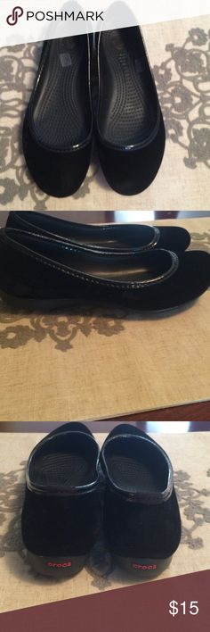 Crocs Very gently worn. Cute crocs with a suede like material trimmed in  leather like material CROCS Shoes