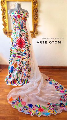 Otomi Wedding dress Multicolor Custom made - White Custom made Mexican Dresses, Mexican Wedding Dresses, Mexican Outfit, Mexican Style, Quinceanera Dresses, Quinceanera Ideas, Wow Products, The Dress, Bridal Dresses