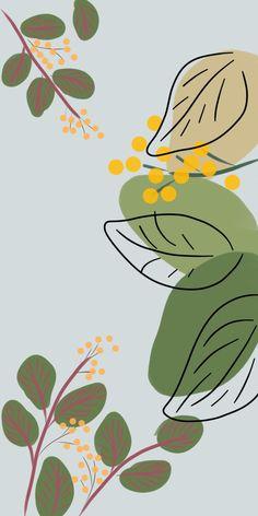 Wallpaper pastel leaf