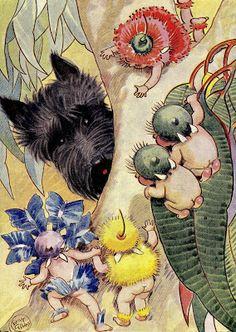 May Gibbs - Scottie in Gumnut Land, 1941 Scottish terrier art Art And Illustration, Vintage Illustrations, Vintage Design, Vintage Art, Edith Holden, Australian Artists, Westies, Vintage Pictures, Dog Art
