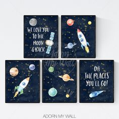 Space Prints Set of Prints Nursery Prints Boy Outer Space Nursery Nursery Space Prints Space Wall Art Rocket Prints Planet Printables Boys Space Bedroom, Outer Space Bedroom, Space Boy, Kids Room, Space Kids, Boy Room, Space Themed Nursery, Baby Boy Nursery Themes, Baby Boy Nurseries