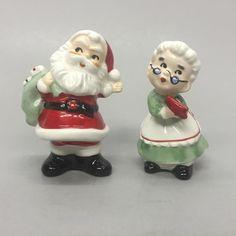Vintage Lefton Japan Santa Waving Mrs Claus with Mitten Salt Pepper Shakers | eBay