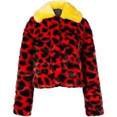 Short Faux Fur Leopard Coat ($150) ❤ liked on Polyvore featuring outerwear, coats, fake fur coats, faux fur coat, short coat, imitation fur coats and red coat