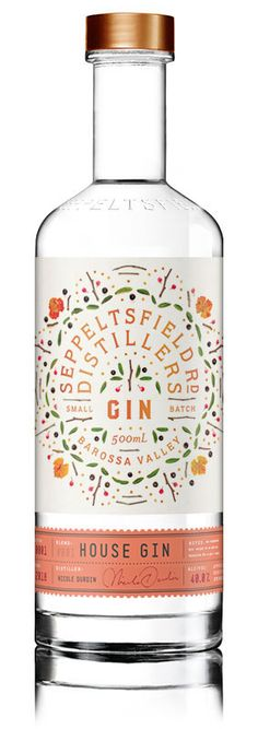 Seppeltsfield Road Distillers House Gin - Gin of the World - Cocktails Beverage Packaging, Coffee Packaging, Bottle Packaging, Chocolate Packaging, Food Packaging, Alcohol Bottles, Gin Bottles, Cocktails, Alcoholic Drinks