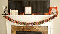Super cute garland/swag for the mantle this Halloween...but would be cute with differnt fabric for a different holiday!