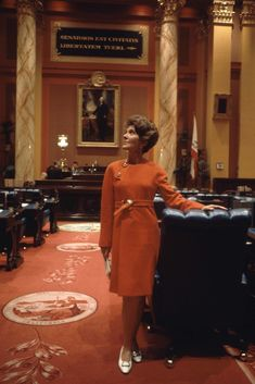 Nancy Reagan's Greatest Looks In in the California State Capitol building, wearing a James Galanos dress. California State Capitol, Reagan Library, Presidents Wives, Nancy Reagan, President Ronald Reagan, Timeless Fashion, Style Icons, Evolution, Nice Dresses