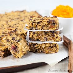 Pumpkin, Almond, Chocolate Granola Bars- just made these, did a mix of almonds, pistachios and walnuts instead of any dried seeds. Added coconut and did both dried cranberries and cherries.  Taking them to work, granola points!