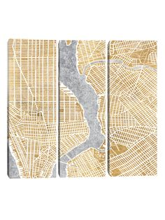 iCanvas Gilded New York Map (Canvas)