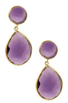 18K Gold Clad Faceted Amethyst Earrings on HauteLook