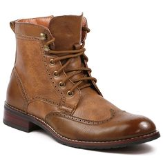 8d37aa0e29c2 Polar Fox Men s Lace Up Wing Tip Perforated Work Dress Ankle Boots  MPX-808567