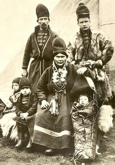 Indigenous Saami family of northern Scandinavia