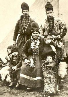 Indigenous Saami family of northern Scandinavia