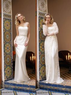6cd9b22b72 Stephanie Allin 2013 - Mystical Column Dress with Full Length Lace Coat  Reem Acra Wedding Dress