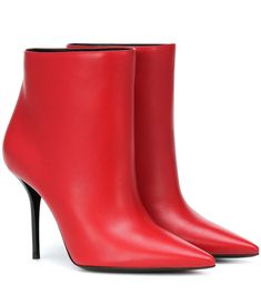 cede441dcb3 Angular lines define the rock-chic aesthetic of Saint Laurent s Pierre 95  ankle boots. The sleek silhouette has been crafted in Italy from  butter-soft red ...
