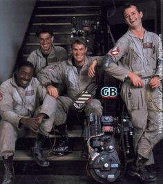 "Bill Murray, Dan Aykroyd, Harold Ramis and Ernie Hudson on the set of ""Ghostbusters"" (1984) RIP Harold Ramis"