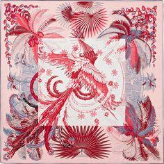 """3b187e9a5af8 36"""" x 36"""" scarf Hermès   Mythiques Phoenix Coloriages CW 03 rose pale"""
