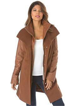 Women's Plus Size Faux Shearling Swing Coat http://www ...