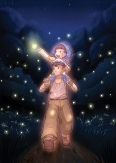Tombeau des Lucioles by ~roxnin on deviantART - (grave of fireflies? Hayao Miyazaki, Sad Anime, Anime Art, Anime Totoro, Hotaru No Haka, Grave Of The Fireflies, Japanese Animated Movies, Studio Ghibli Movies, Howls Moving Castle