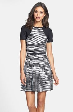 Trina Turk Jacquard Fit & Flare Sweater Dress available at #Nordstrom
